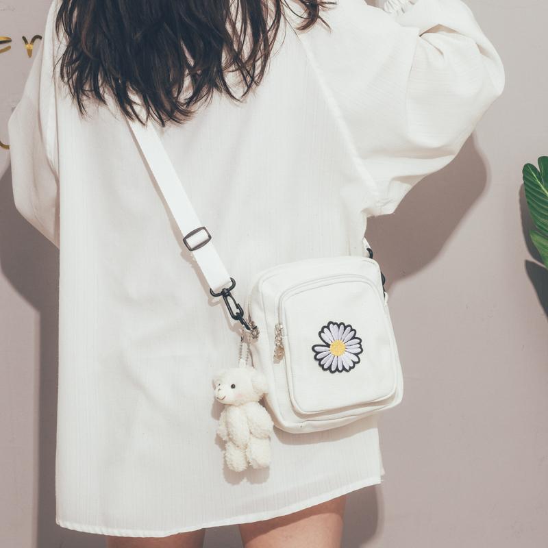 包包女2020新款潮韩版ins原宿小巧百搭帆布包可爱少女手机斜挎包
