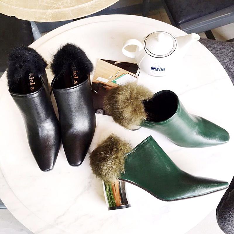 粗跟短靴女春秋2017新款潮百搭韩版高跟裸靴欧洲站女靴子英伦单靴