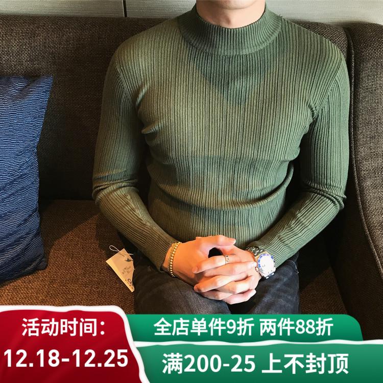 韩国韩版秋冬半高领毛衣男士时尚修身针织衫条纹打底针织衫青年潮