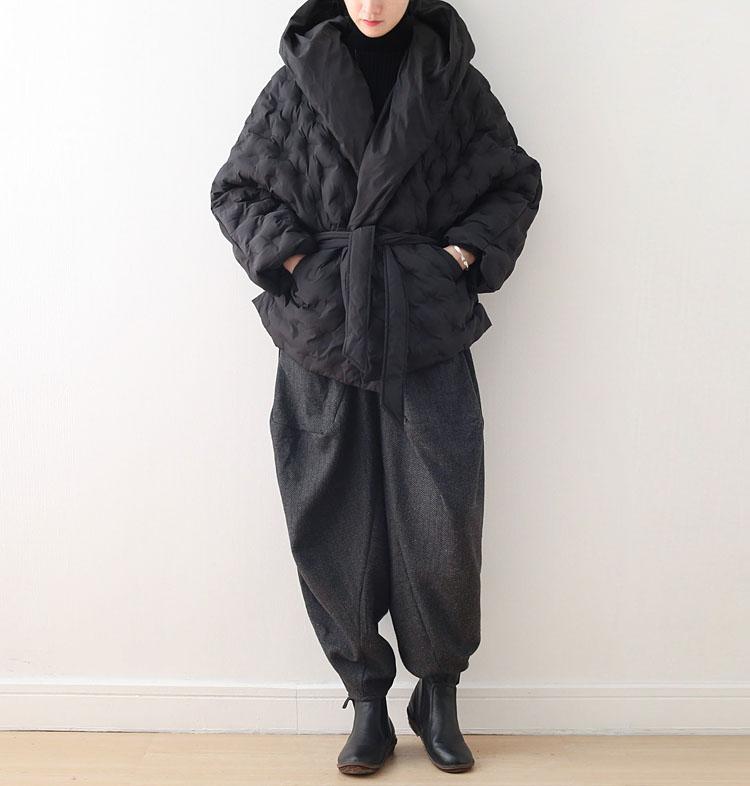 19秋季新款原创设计文艺复古女装系带连帽宽松羽绒棉面包棉衣棉服