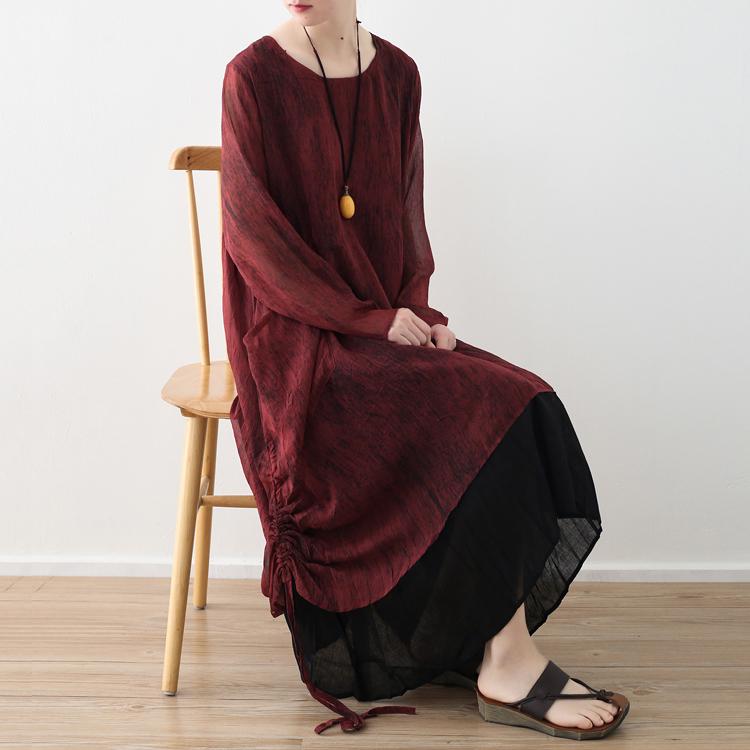 2018春季新款原创设计女装宽松大码双层雪纺扎染抽绳不规则连衣裙
