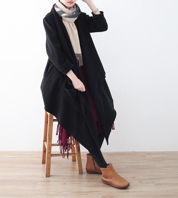 18秋冬季新款复古纯色不规则解构设计双面呢大衣