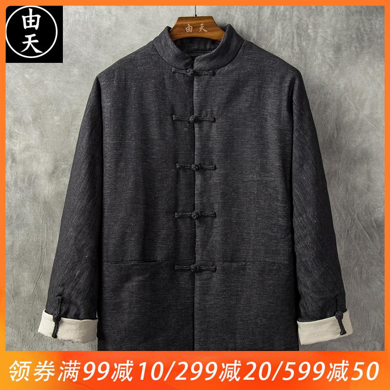 男士中国风棉衣冬季加厚外套复古男装中老年唐装棉袄盘扣中式棉服