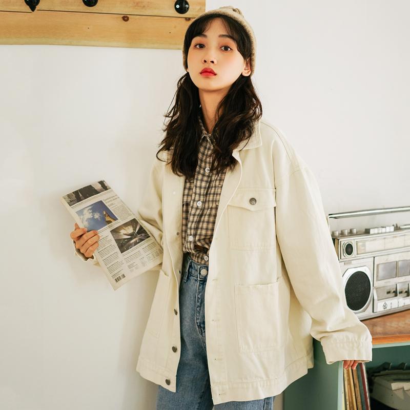 2020夹克女秋装新款纯色翻领单排扣贴布口袋韩版棉外套上衣-大牌小物实拍店-