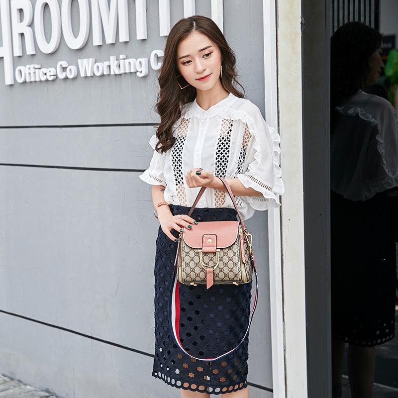 包包女2018新款韩版老花撞色水桶包女士手提包宽带百搭单肩斜挎包