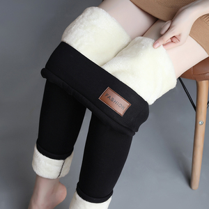 Ultra-thick extra-thick lambskin leggings women's pants winter plus velvet thickened outer wear high waist integrated pants warm pants cotton pants