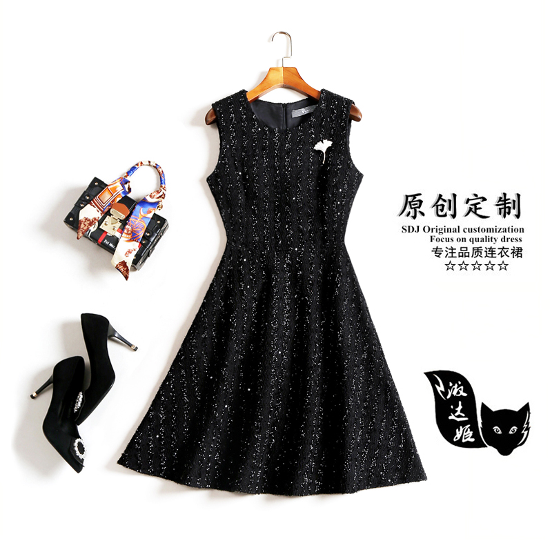 裙背心蓬蓬裙修身显瘦小黑裙女