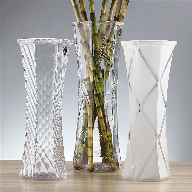 花瓶富贵竹中大号玻璃透明百合水培简约现代六角客厅桌面插花花瓶