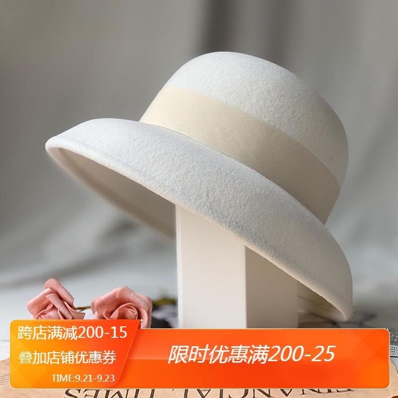 秋冬新款帽子女纯白羊毛呢礼帽渔夫帽盆帽优雅复古赫本风法式大檐