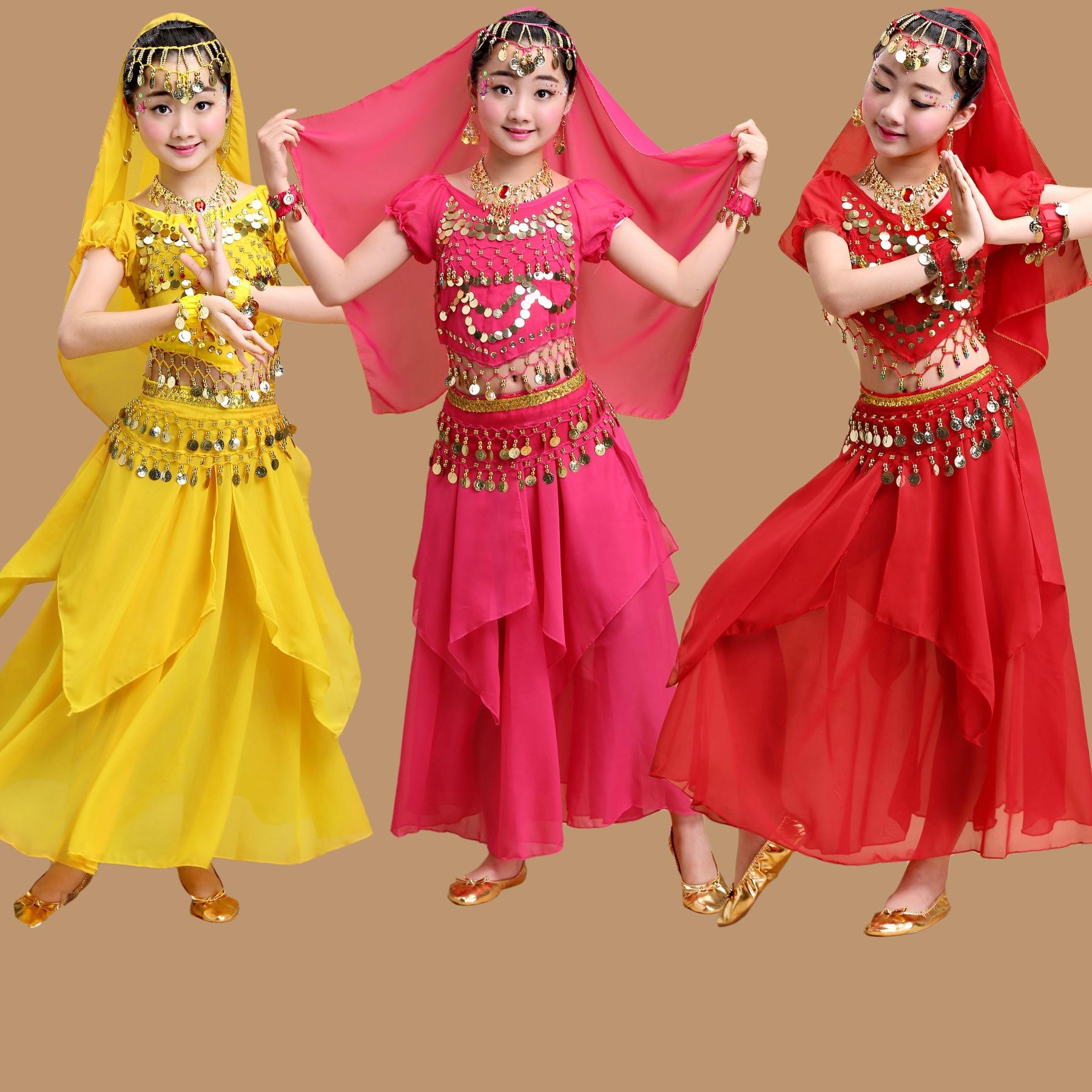 女少儿童印度舞演出服肚皮舞套装跳舞蹈服装儿童裙子民族舞表演服