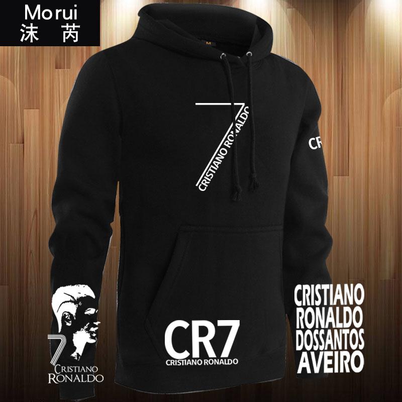 C罗纳尔多加绒外套男女尤文葡萄牙7号CR7足球迷服连帽卫衣服帽衫