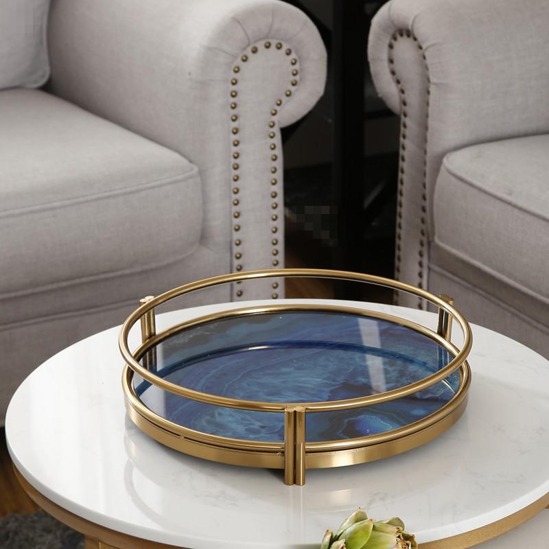 北欧轻奢金属收纳托盘摆件家用茶几水杯茶盘样板间家居装饰品摆设