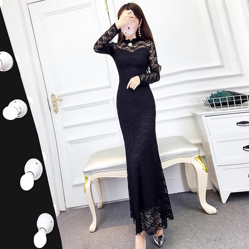 2020春秋新款女装气质高冷御姐风成熟蕾丝裙子修身显瘦连衣裙长裙