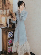 秋冬2021新款复rb6少女年轻bi袍长裙仙女长袖修身显瘦连衣裙