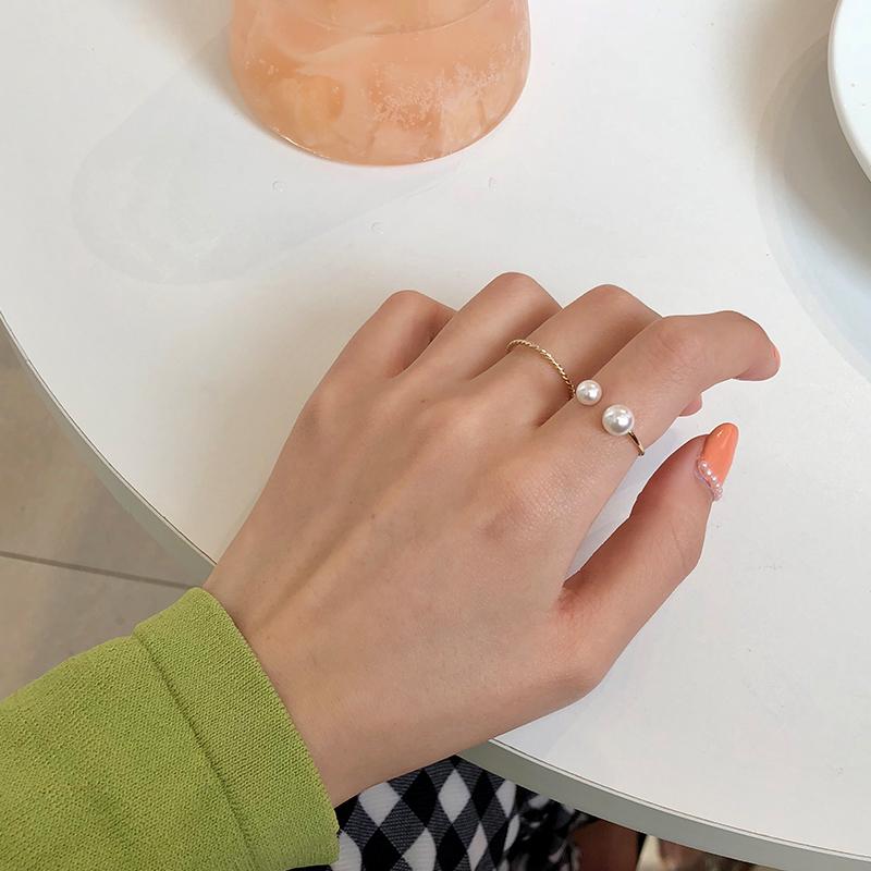 4只珍珠戒指套装组合女时尚个性日式轻奢网红冷淡风食指戒手饰品