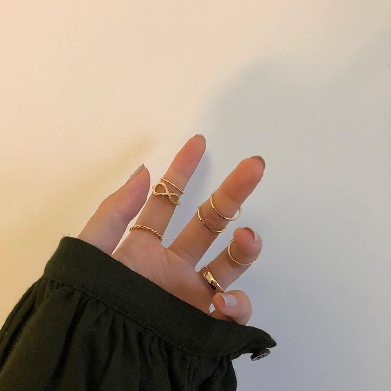 甜酸7只套装戒指女时尚个性ins潮冷淡风尾戒小指食指戒网红手饰品