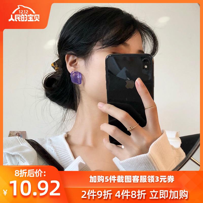 925银针复古耳钉高级感小众chic设计感耳环女网红韩国百搭耳饰品