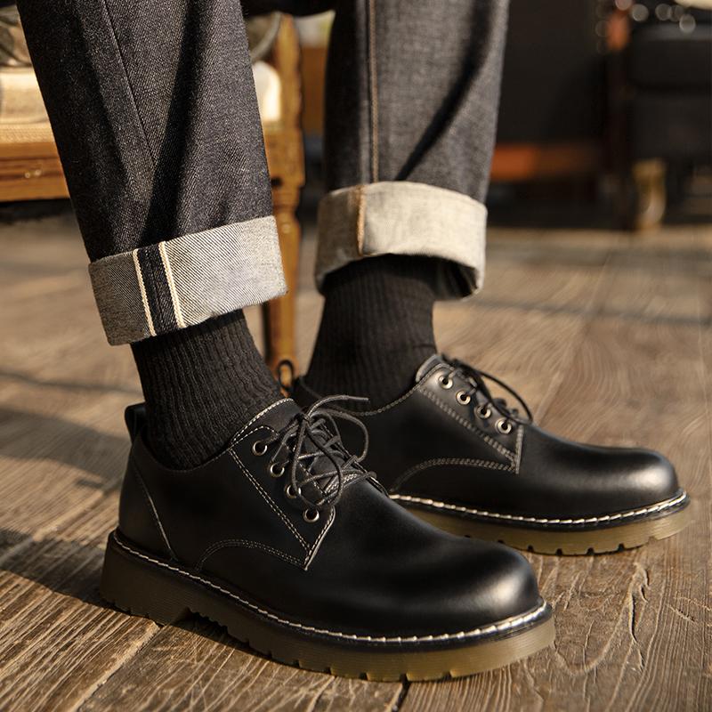 男鞋2020新款秋季黑色工装马丁靴低帮百搭英伦大头休闲皮鞋潮鞋子