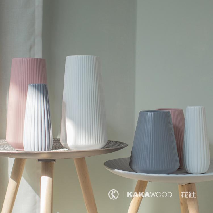 地中海陶瓷花瓶磨砂哑光插花摆放家居饰品鲜花干花容器莫兰迪色