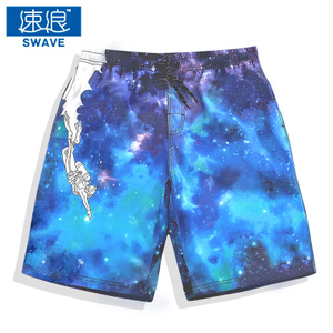 Fast Dry beach pants Men's beach travel loose shorts Chao personality printing hot spring swimming trousers seaside holi