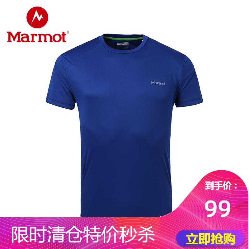 marmot/土拨鼠春夏户外新款轻薄宽松圆领速干短袖男T恤
