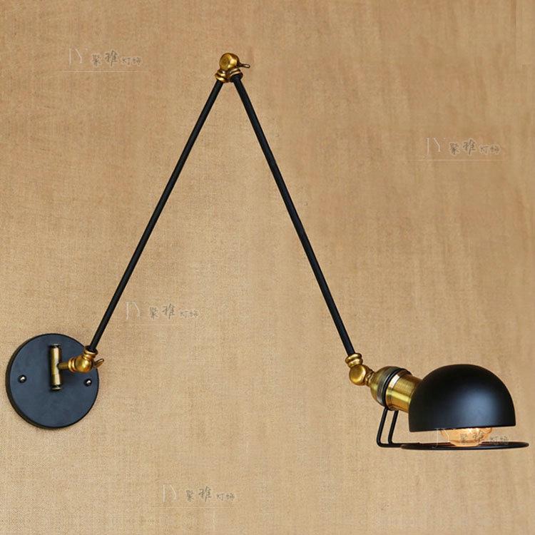 北欧超长臂三节伸缩铁艺灯 装修会所床头咖啡馆卡座法国小号壁灯-聚雅灯饰