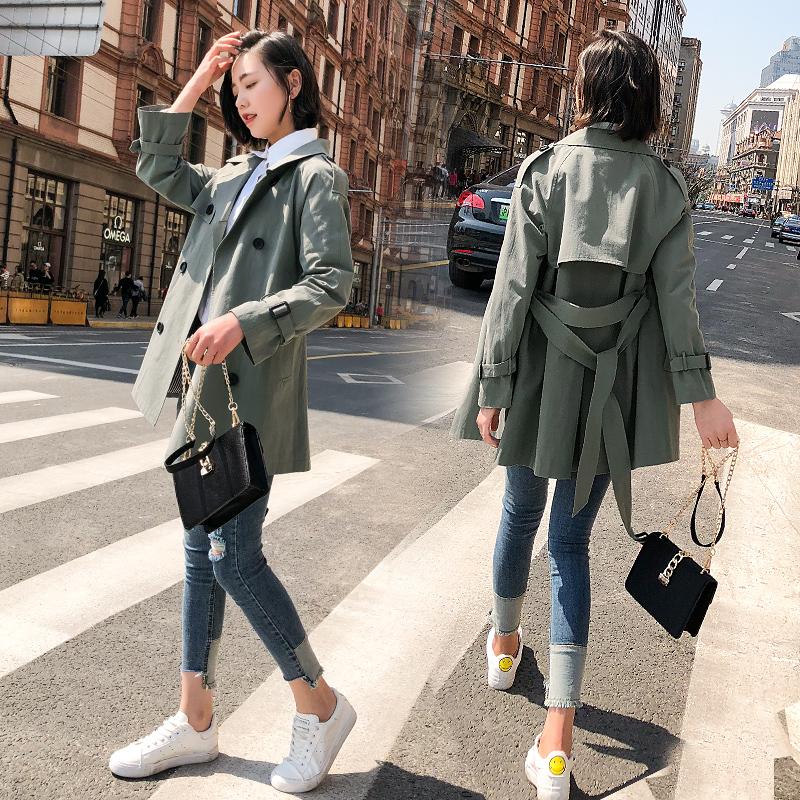 小个子风衣女短款韩版春季2018新款港风chic中长款lulu春秋装外套