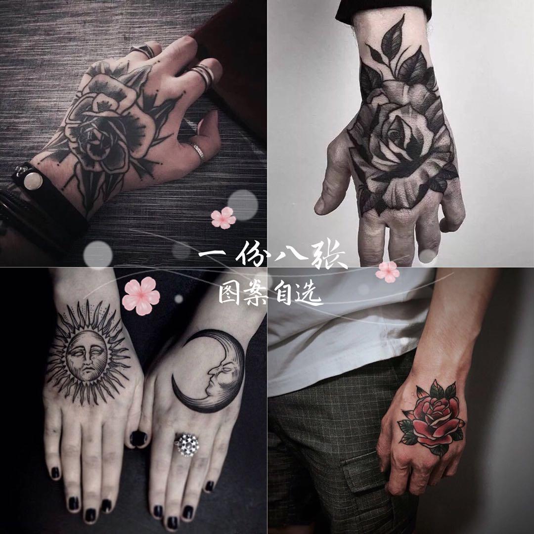 纹身贴防水持久男女全手背系列玫瑰花骷髅般若嘻哈朋克风 自选8张图片