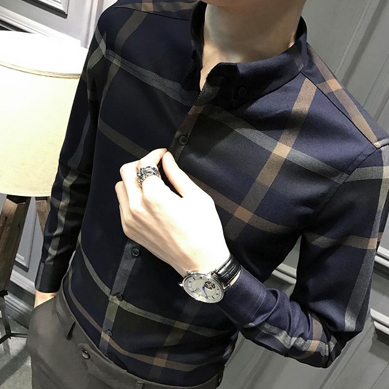 秋装格子长袖衬衫男韩版修身男士休闲上衣潮流帅气衬衣商务男装寸