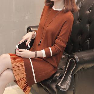 中长款假两件套头毛衣女装春季圆领打底衫针织衫连衣裙韩版毛衣裙