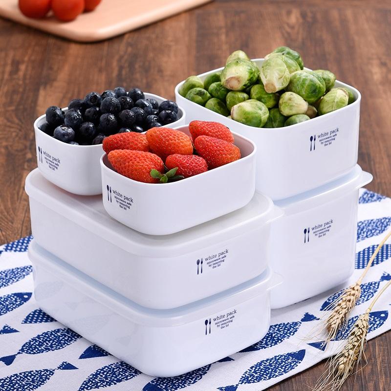 日本进口冰箱保鲜盒可微波炉加热饭盒便当盒食物收纳盒密封冷藏盒