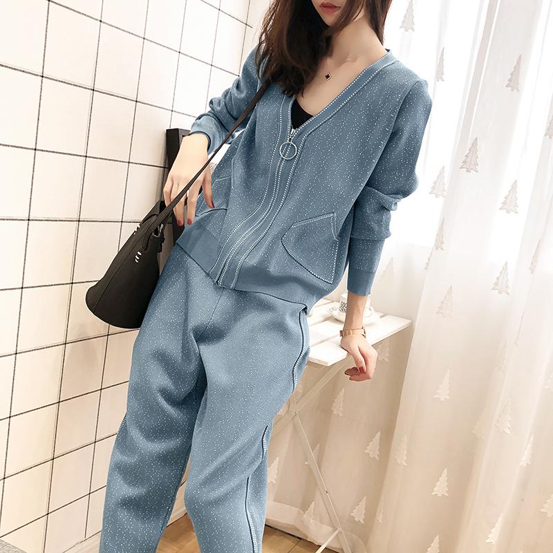 早春针织套装裤子女2019款女装韩版时尚休闲春季洋气毛衣两件套潮
