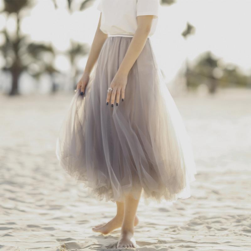 中长款裙子高腰网纱半裙垂感长裙仙女纱裙显瘦半身裙女夏2019新款