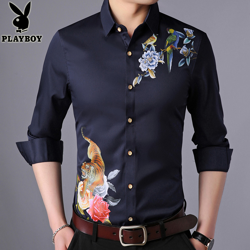 花花公子男装长袖衬衫 春秋季青年男士韩版修身休闲衬衣潮流寸衫