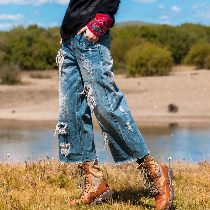 素萝 百衲。叁 原创设计民族风女装百搭阔腿裤七分破洞全棉牛仔裤