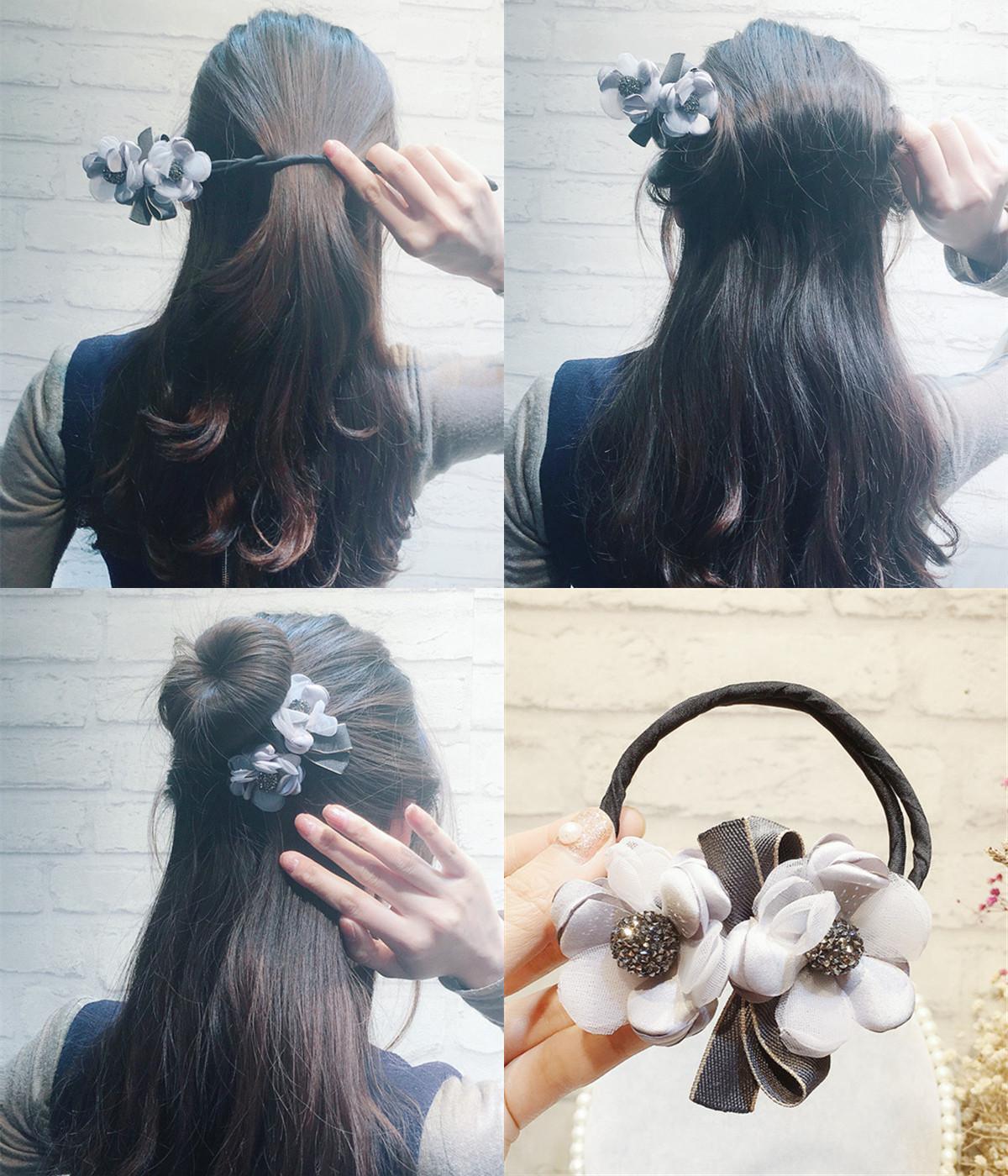 丸子头花朵盘发器韩国头饰百变花苞头扎头发盘发造型神器发饰女图片