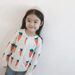 ins net red baby children's clothing sweater boy carrot female baby knitted cardigan parent-child spring coat autumn winter