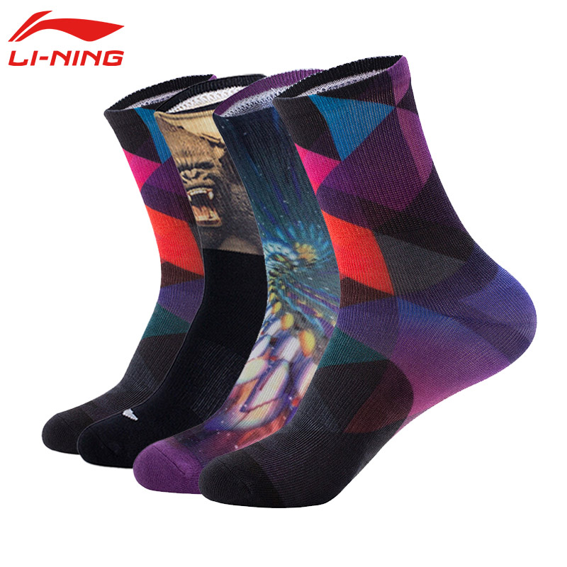 李宁男袜运动袜中高筒长袜篮球袜吸湿排汗袜子男女炫彩袜潮袜精英