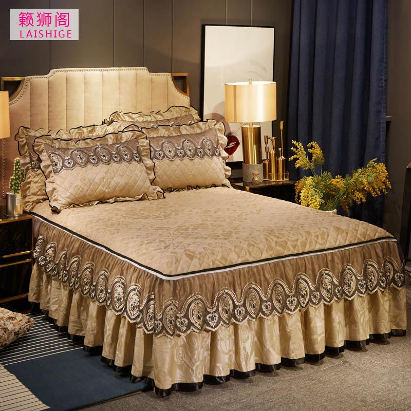 天鹅绒席梦思床罩单件夹棉加厚可拆卸床裙式防滑床套防尘罩1.8米