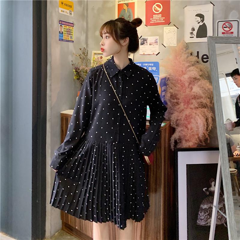 大码女装2020春季新款韩版长袖波点雪纺连衣裙胖妹妹显瘦百褶裙子-达令girl大码女装-