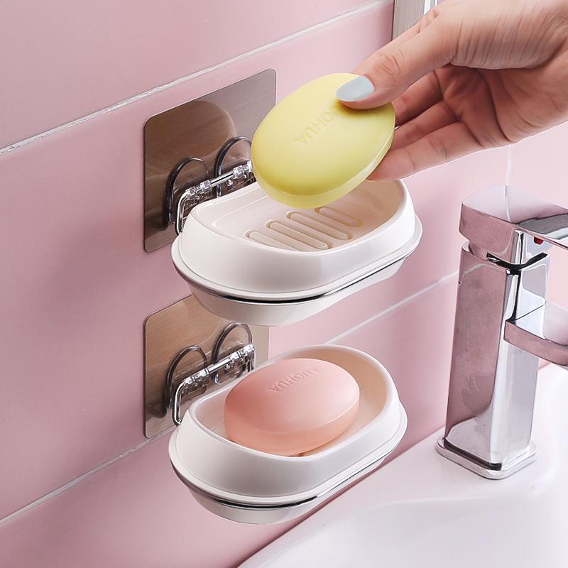家用 香皂盒 吸盘 壁挂式 卫生间 皂盒 打孔 创意 沥水 肥皂盒