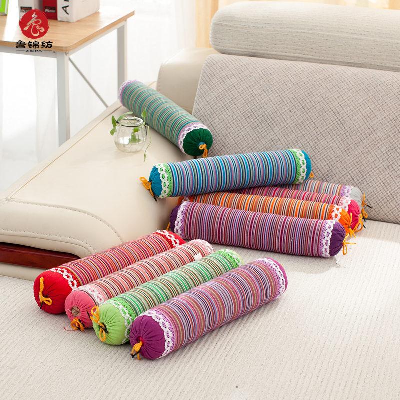 【天天特价】手工老粗布颈椎枕专用枕头荞麦皮圆形枕头圆枕护颈枕