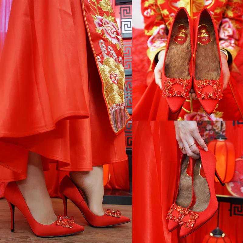 婚鞋女冬季结婚鞋子2017新款秀禾鞋红色中式新娘鞋加绒水晶高跟鞋