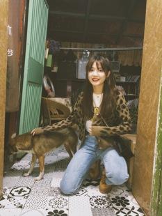 小野马 18秋季vintage复古少女豹纹俏皮可爱图案针织外套开衫毛衣
