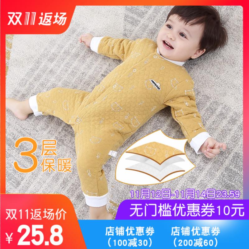 婴儿保暖连体衣秋冬装男女宝宝潮服哈衣春秋套装一岁加厚夹棉衣服