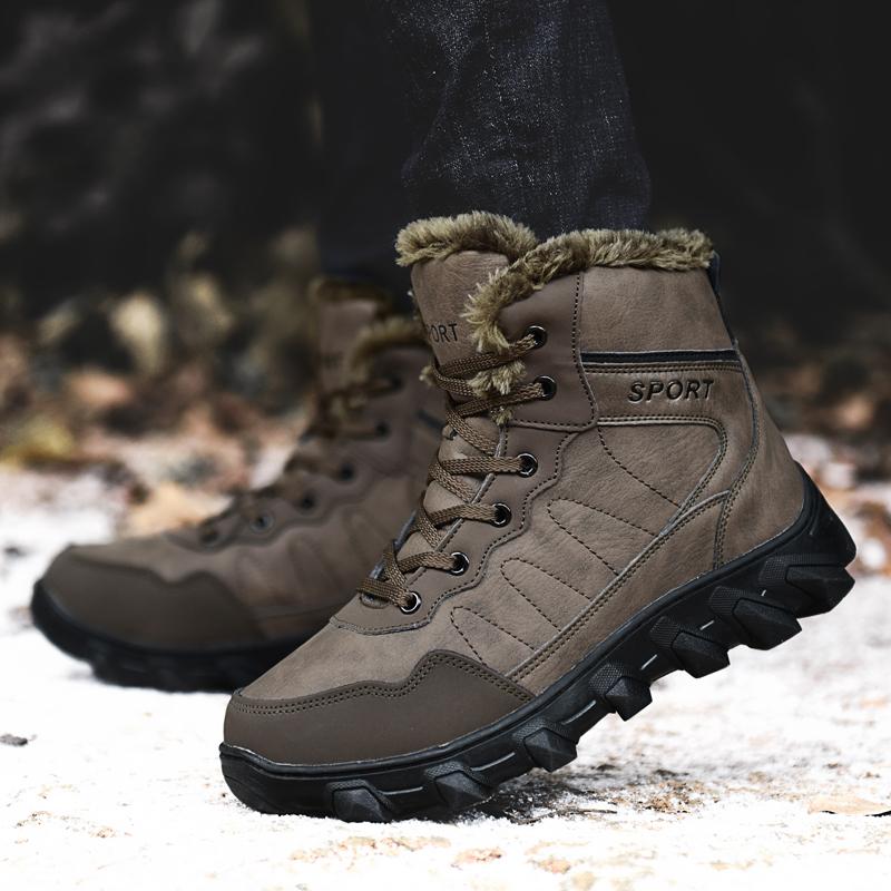 中年运动鞋男款棉鞋冬季高帮加绒保暖男鞋防滑加厚中老年爸爸棉靴