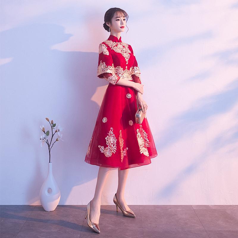 敬酒服新娘2019夏款结婚红色礼服中式旗袍小个子回门连衣裙秀禾服