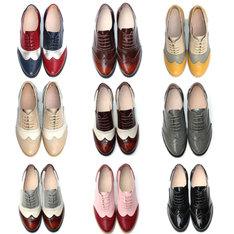 2018新款春布洛克女鞋真皮系带牛津鞋平底复古定制英伦风小皮鞋女