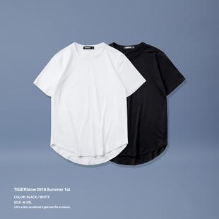 tigerblow欧美高街t恤男短袖纯棉大码纯色圆弧下摆打底衫宽松长款
