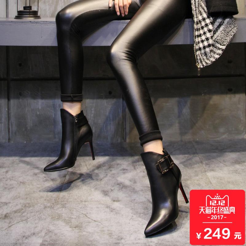 2017秋冬季新款欧美时尚真皮女鞋高跟鞋单靴尖头短靴女细跟女靴子